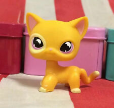 Littlest Pet Shop LPS#855 golden yellow shorthair Cat with pink eyes