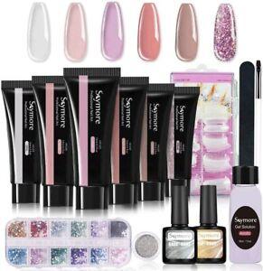 Nail Extension Gel Kit Complete Manicure Set  with 12 Pcs Rhinestones 100Pcs Dua