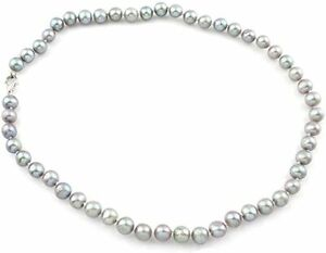 Stunning 7-8mm Grey Natural Freshwater Pearl Necklace for Women