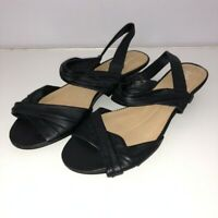 J Jill 9 Sandals Wedge Black Strappy Ankle Strap Leather Open Toe Womens Shoe