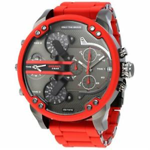 Diesel Mr.Daddy DZ7370 2.0 Men's Red Silicone Gunmetal New Watch