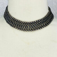 antique Necklace Choker chunky Silver tone Wide Heavy Metal Chain Woven Mesh?