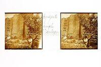 Agrigento Girgenti Sicilia Tempio Esculapio Italia Placca Stereo C 1900