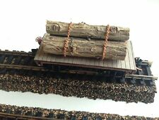 ULRICH N SCALE OLD TIME FLAT CAR WITH REAL LOGS