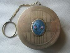 Antique Gold Tone Blue Guilloche Bar Chain Finger Ring Double Mirror Compact