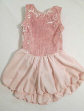 Girls Major Motion Dance Leotard Size XS 2-3 Pink Velour Skirt Sleeveless VGUC