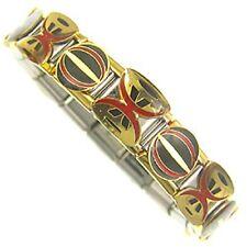 "Italian Charms Bracelet  Designer 18ct Gold and Enamel  "" Fire Dance """