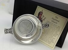 """Pewter Celtic Handle Wedding QUAICH  Imported gift 3.5"""" English Pewter"""