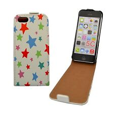 CASE FOR APPLE IPHONE 5C FLIP PU LEATHER WHITE MULTICOLOUR STAR POUCH COVER