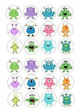 24 Edible cake toppers wafer rice paper cute monsters monster mix