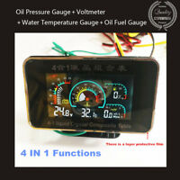 4IN1 LCD Car Oil Pressure Gauge+Voltmeter+Water Temperature Gauge+Oil Fuel Gauge