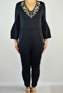 New Ted Baker Bixie Black Embellished Jumpsuit Wedding Holiday Size 3 12 AV