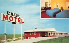 Williamsburg Iowa 1950-60s Postcard The Crest Motel TV In Room