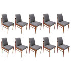 Set of Ten Grey Linen Brazilian Mid-Century Dining Chairs by L'Atelier, 1960s