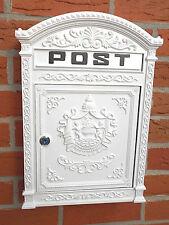 Briefkasten aus Aluguss, historisches englisches Design, mit 2 Schlüssel, weiß