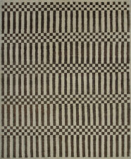 Geometric Moroccan Rug, 8' x 10', Ivory/Brown, Hand-Knotted Wool Pile