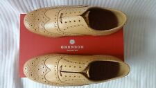 Mens Grenson Stanley Soft Tan Brogue Half Rubber Shoes UK 9G Wide RRP. £260.00