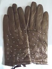 Etienne Aigner 100% Cashmere Lined Silver Studded Leather Gloves,Small, Gold