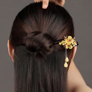 Chinese Classical Girl Elegant Flower Tassel Ebony Hairpin Hair Stick Step Shake
