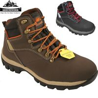 MENS LEATHER GROUNDWORK SAFETY STEEL TOE CAP & MIDPLATE WORK TRAINER SHOES BOOTS