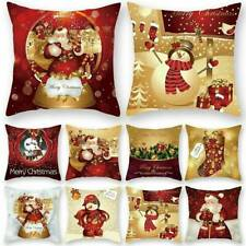 3D Merry Christmas Santa Cushion Cover Pillow Case Linen Home Sofa Throw Decor