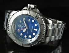 Invicta 52mm Reserve SKULL Hydromax BLUE Deep Dish Dial SWISS GMT Silver Watch