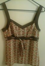 Preowned Womens Ann Taylor LOFT  Blouse/top EUC size 6 sleevless .brown paisley