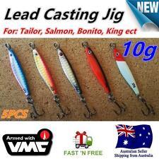 5X 10g Lead Casting Jig Slice spoon Fishing Lures VMC Hook Tailor Salmon Bonito