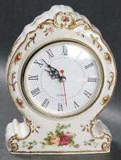 Beautiful Royal  Albert  Old  Country  Roses  Mantle Clock  RARE