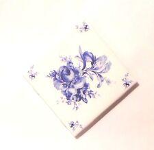 "Blue Swansea Flower Accent Ceramic Delft Tile 4.25"" x 4.25""  Kiln Fired Decor #4"