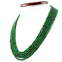 416.45 CTS EARTH MINED 5 STRAND RICH GREEN EMERALD ROUND SHAPE BEADS NECKLACE
