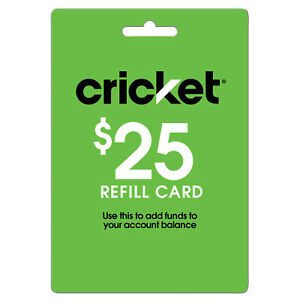 New Cricket Wireless $25 Refill Card