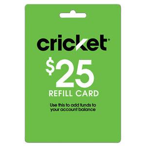 New Cricket Wireless $25 Refill Card