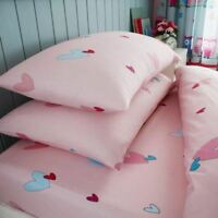 HEARTS BLUE PINK RED SINGLE FITTED SHEET & PILLOWCASE SET BEDDING CHILDRENS