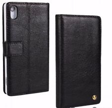 For Sony Xperia Z2, Black Cowhide Genuine Leather Wallet Card Case Cover
