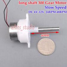 DC 6V-12V 48RPM Slow Speed Reducer Gearmotor Long shaft Turbine Worm Gear Motor