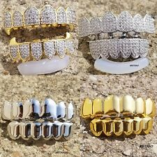 14K Gold Plated High Quality CZ Two Tone Top & Bottom GRILLZ Mouth Teeth