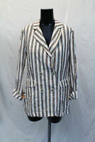 Bershka Womens 3/4 Rolled-up Sleeves Striped Blazer CK6 Orange/Brown/White Small