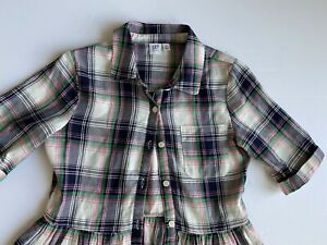 Gap Kids blue & pink plaid dress girls sz XL