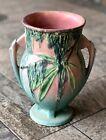 """Roseville 776-7"""" Green/Pink Moss Pottery Vase Vintage"""