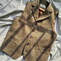 Retro Mens Wool Blend Vest Coat Slim Business Jacket Button Wasitcoat US SIZE