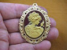 (cm26-31) FEMININE LADY + bird brown Resin CAMEO jewelry Pin Pendant POPULAR