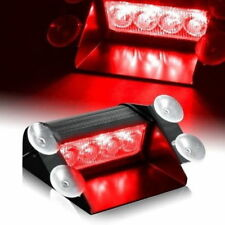 12V Red Auto Windshield Interior 4-LED Emergency Warning Flashing Sucker Light