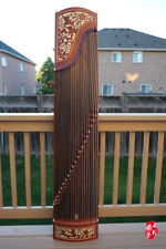Dunhuang Guzheng, Chinese Zither Harp, 敦煌非洲檀木古箏 -- 雙鶴朝陽 -- 古筝 徐振高簽名款