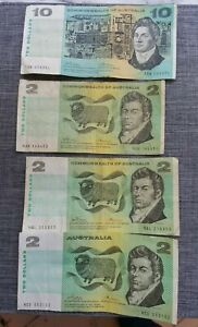 4 Australia Notes $10 $2 $2 $2 Dollars Currency