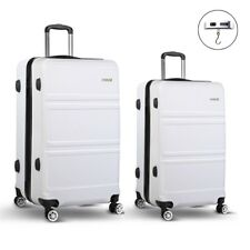 Wanderlite 2pc Luggage Suitcase White Trolley Set TSA Hard Case Lightweight