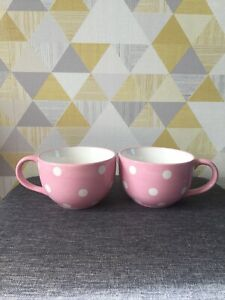 The Pampered Chef X2 Pink Polka Dot Large Mugs Help Whip Cancer