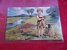 "Fancy Antique Germany 1908 ""To My Valentine"" Gold Trim Embossed Postcard Card"
