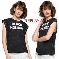 T-shirt donna REPLAY taglia XS maglietta smanicata maltinta canotta a paillettes