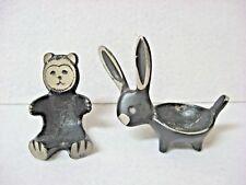 Lot 2 vintage metal BEAR + RABBIT holders EGG business card RING gum guard
